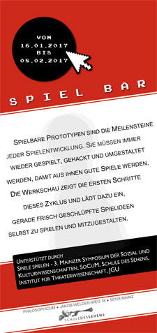 "Flyer zur Werkschau ""SPIEL BAR"" (Download)"