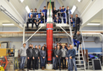 The MAIUS-1 sounding rocket with the entire mission team (photo/©: Thomas Schleuss, DLR)