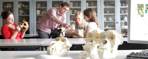 Dr. Holger Herlyn has established the osteological study collection at the JGU Institute of Anthropology over the last three years. (photo: Thomas Hartmann)