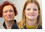 "Dr. Klaudia Dombrowsky-Hahn (l.) of Goethe University and Dr. Sabine Littig of JGU are implementing the new research project ""Africans in the Rhine-Main region"". (photo: Peter Pulkowski)"
